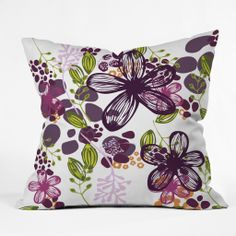 Natalie Baca Floral In Plum Throw Pillow | DENY Designs Home Accessories