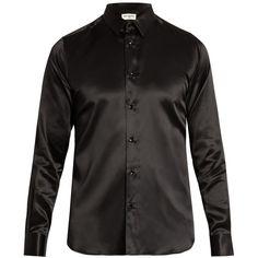 Saint Laurent Button-cuff silk-satin shirt ($710) ❤ liked on Polyvore featuring men's fashion, men's clothing, men's shirts, slim fit mens clothing, mens slim fit shirts, mens slim shirts and yves saint laurent mens shirt