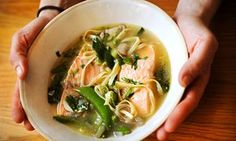 Angela Hartnett's salmon in ginger and lemongrass broth.