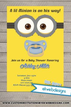 minion inspired baby shower invitation minion baby minion baby