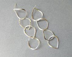 Dangle Silver Earrings  Long Drops Earrings  Sterling silver