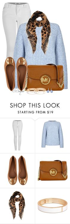 """Baby Blue Sweater"" by ccroquer ❤ liked on Polyvore featuring 2LUV, Paul & Joe Sister, Tory Burch, Michael Kors, Burberry, Tokyo Jane and Swarovski"