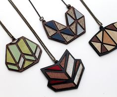 Laser Cut Necklaces from Recycled Laminate Samples