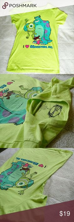 Disney Monsters Inc T-Shirt Gently used and washed. Vibrant green with balanced blue tones. Let me know for any inquiries. Disney Tops Tees - Short Sleeve