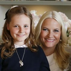 Crown Princess Mette-Marit of Norway with daughter Princess Ingrid-Alexandra