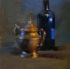 """Daily+Paintworks+-+""""Shining+in+Warm+and+Cool""""+-+Original+Fine+Art+for+Sale+-+©+Qiang+Huang"""