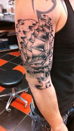 Tattoo by Jason  https://www.facebook.com/ultimatearts  clipper ship tattoo, traditional tattoo, American traditional tattoo