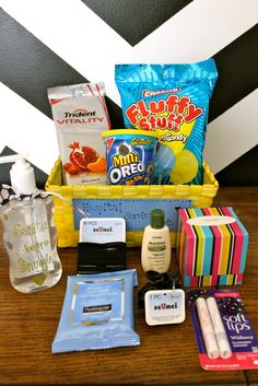 Hospital Survival Kit for when baby comes!  So cute for a baby shower gift.