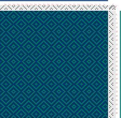 Hand Weaving Draft: teal double diamond twill, Something I drafted using Pixeloom., 4S, 6T - Handweaving.net Hand Weaving and Draft Archive