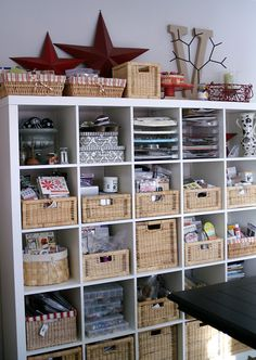 The Nest: Craft Room Inspiration - Ikea Kallax and baskets to organize craft & art supplies Craft Room Storage, Craft Organization, Craft Rooms, Storage Ideas, Storage Baskets, Wall Storage, Organizing Crafts, Storage Solutions, Ikea Storage