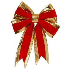 """Large 16"""" x 19"""" Red and Gold Indoor Velvet 4 Loop Christmas Bow"""