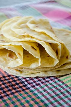 ~ Basic Homemade Flour Tortillas, using only four ingredients: wheat flour, oil, water, salt.  Going to rave this recipe!