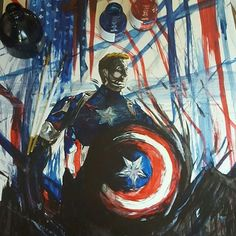 "Wow! What an awesome #CaptainAmerica #painting made with #brushedink by @danhawk333! I'm sure #SteveRogers would be happy to find such a fine portrait #illustration of himself (yes I sometimes talk about #comicbook characters as if they were real. So what?). Dan's got a lot of other great paintings you MUST check out! ----- Hope you're enjoying your ""ride"" on our #CreativeAirship! If you like this piece please be sure to  the original too!"