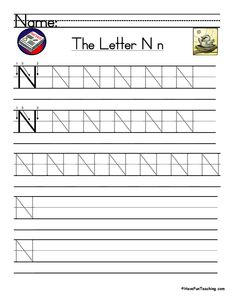 UsingLetter N Handwriting Practice Worksheet, students trace and then write the letter N in order build their Zaner-Bloser style print handwriting skills. Print Handwriting, Handwriting Practice Worksheets, Teaching Handwriting, Handwriting Analysis, Teaching The Alphabet, Teaching Writing, Digraphs Worksheets, Preschool Worksheets, Tracing Worksheets