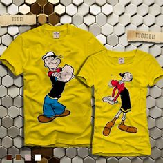Popeye and Olive Couples Tshirt -Sailor Couple Cute Couple Shirts, Couple Tees, Family Shirts, Kids Shirts, Cool Shirts, Tee Shirts, Matching Couple Outfits, Matching Shirts, Graphic Shirts