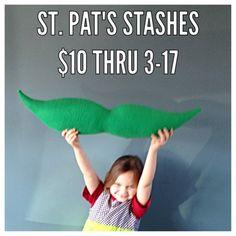 St. Patty's Day Mustache Pillow by DesignsbyAlisonUSA on Etsy #designsbyalison #madeinUSA #mustache #movember #stpats #stpatricksday #lucky #stash