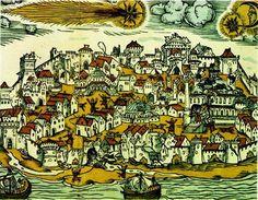 1556'da İstanbul'dan kuyruklu yıldız geçer, ardından deprem olur,sonra bir de ay tutulur.Herman Gall,bir gravür çizer