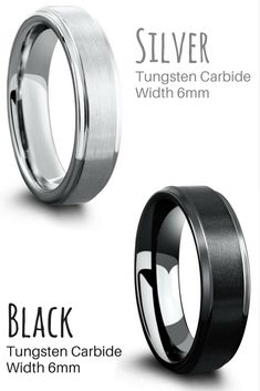 I love the simplicity of these mens tungsten wedding rings. That are both the same wedding band but different colors. Black or silver tungsten wedding ring with a matte textured top and high polish step down edges.