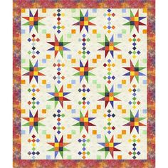 Timeless Treasures Rainbow Color Wheel Magical Stars Quilt Kit 66 by 78 inches. Hancocks of Paducah offers a wide selection of Quilt Kit by Timeless Treasures Star Quilt Blocks, Star Quilt Patterns, Star Quilts, Scrappy Quilts, Easy Quilts, Owl Quilts, Patchwork Patterns, Mini Quilts, Easy Sewing Projects