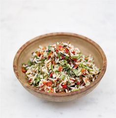 My favorite summer side... Jamie Oliver's rice salad. Simple, fresh and so easy. Try with different grains to mix it up.