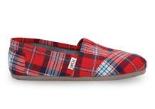 Red Woven Plaid Women's Classics   TOMS