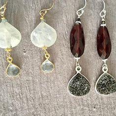 """""""You're pretty."""" """"No, YOU'RE pretty."""" #moonstone #bluetopaz #garnet #druzy #earrings #sterling #goldfilled #halliescomet #handmadejewelry Fine Jewelry, Women Jewelry, Jewelry Making, Handcrafted Jewelry, Blue Topaz, Garnet, Artisan, Drop Earrings, Gemstones"""