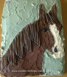 Homemade Horse Birthday Cake Design: My daughter loves horses and ponies and I wanted to make her something different from what I usually make. I got the idea for this Horse Birthday Cake