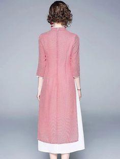 Folk Plaid Stitching Stand Collar Half Sleeve Skater Dress