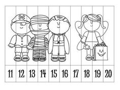 Free! 9 Autumn/Halloween Number Order Puzzles B&W for a fun reinforcer