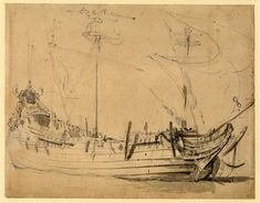 A Dutch 'Flute', from the starboard bow Graphite, with grey wash, on buff paper