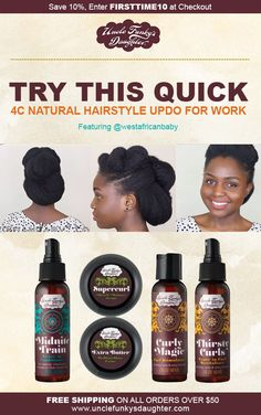 Looking for a quick natural hairstyle for work? Try this quick and professional natural hairstyle for work or special occasion. Featuring Try our travel sized products. 4c Natural Hair, Natural Hair Styles, Professional Natural Hairstyles, Work Updo, Deep Cleansing Shampoo, How To Clean Crystals, Type 4 Hair, Hair Masque, Afro Textured Hair