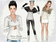 Winter Wonder Poncho with Gloves by Ms Blue - Sims 3 Downloads CC Caboodle