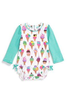Hatley Hatley Ice Cream Print One-Piece Rashguard Swimsuit (Baby Girls) available at #Nordstrom