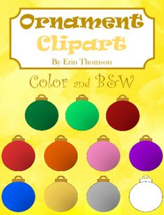 This clip art pack contains 10 colored ornaments and 1 black and white ornament.All images are PNG formatted files with transparent backgrounds.  Images can be used for personal and classroom use. Please credit me if used in a TpT product. Thank you!If you like this product, please leave some positive feedback!