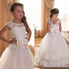2016 First Communion Dresses For Girls Scoop Backless With Appliques And Bowtulle Ball Gown Pageant Dresses For Little Girls Flower Girl Dresses Adelaide Flower Girl Dresses For Beach Wedding From Lovewedding888, $53.46| Dhgate.Com