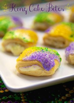 Easy King Cake Bites - present rolls filled with cinnamon and cream cheese, topped with icing and colored sugar - DELICIOUS! Great for breakfast or dessert!