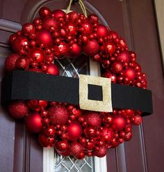 DIY Christmas Wreaths for Front Door -  Ornament Wreath - Click Pick for 24 Easy Christmas Decorating Ideas