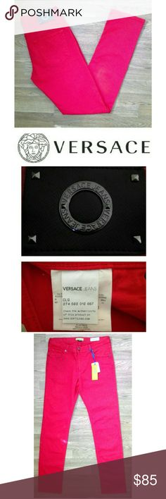 """☆76%off slim fit Versace jeans These gorgeously classic Versace jeans are perfect to wear year round! Classic red 98% cotton, 2% elastane for stretch fit. Traditional 5 pocket style, Versace logo on button clasp and black logo tag on back. Authenticity tag attached, see pic 2. Slim fit, dress up or down with sweaters and heels, sneakers and tees...possibilities are endless! USA 34, Italy 48, 34"""" inseam. NWT, UNUSED, NO DAMAGES. Grab your vintage classics before they're gone forever! Versace…"""