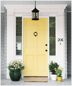 Love this yellow door- Benjamin Moore hawthorne yellow HC-4