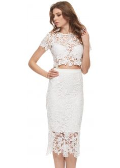 Abyss White Bunny Set Lace Pencil Skirt & Cropped Top