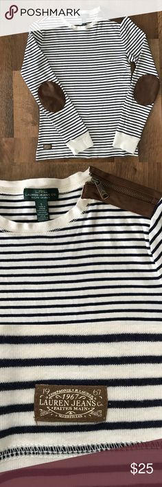 Ralph Lauren elbow patch top Stripes are Navy color, zipper detail on shoulder size S 100% cotton Lauren Ralph Lauren Tops Tees - Long Sleeve