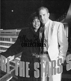 Behind the scenes : Kevin Costner & Whitney Houston at the Fountain Bleau Hotel in Miami Beach during the filming of The Bodyguard.