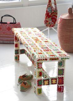 A delightful granny square covered bench seat found via Sanna & Sania