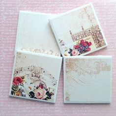 A personal favorite from my Etsy shop https://www.etsy.com/listing/289679671/shabby-chic-handmade-coasters-vintage