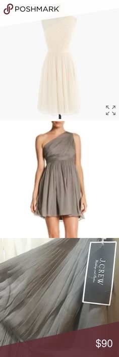 J Crew weddings Petite Kylie Dress Chiffon Silk 8 New with tag One shoulder dress J. Crew Dresses One Shoulder