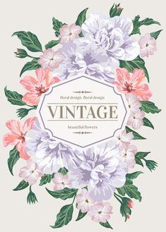 Beautiful flowers with vintage card vectors 01