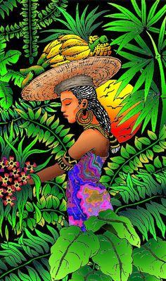 Mujer exótica en selva tropical - Rain Forest Art Print