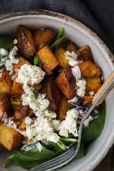 Smoked Paprika Potato Spinach Salad with Homemade Blue  Mein Blog: Alles rund um Genuss & Geschmack  Kochen Backen Braten Vorspeisen Mains & Desserts!