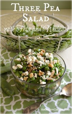 Three Pea Salad with Feta and Walnuts- An Oregon Cottage