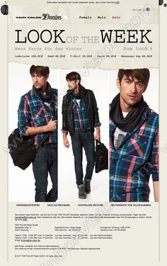 Company:  Tom Tailor AG Subject:  Look of the week Denim Male               INBOXVISION providing email design ideas and email marketing intelligence.    www.inboxvision.com/blog/  #EmailMarketing #DigitalMarketing #EmailDesign #EmailTemplate #InboxVision  #SocialMedia #EmailNewsletters